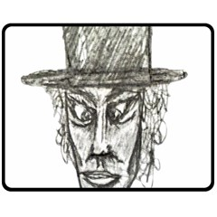 Man With Hat Head Pencil Drawing Illustration Double Sided Fleece Blanket (Medium)