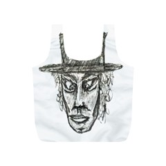 Man With Hat Head Pencil Drawing Illustration Full Print Recycle Bags (S)