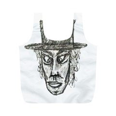 Man With Hat Head Pencil Drawing Illustration Full Print Recycle Bags (M)
