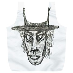 Man With Hat Head Pencil Drawing Illustration Full Print Recycle Bags (L)