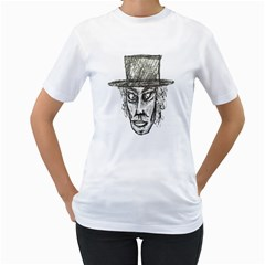 Man With Hat Head Pencil Drawing Illustration Women s T-Shirt (White)