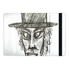 Man With Hat Head Pencil Drawing Illustration Samsung Galaxy Tab Pro 10.1  Flip Case