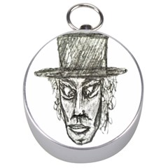 Man With Hat Head Pencil Drawing Illustration Silver Compasses