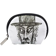 Man With Hat Head Pencil Drawing Illustration Accessory Pouches (Small)