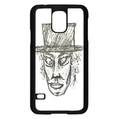Man With Hat Head Pencil Drawing Illustration Samsung Galaxy S5 Case (Black)