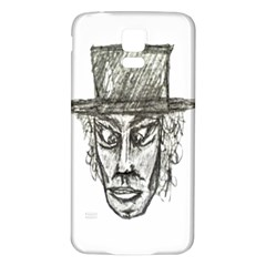 Man With Hat Head Pencil Drawing Illustration Samsung Galaxy S5 Back Case (White)