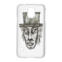 Man With Hat Head Pencil Drawing Illustration Samsung Galaxy S5 Case (White)