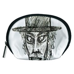 Man With Hat Head Pencil Drawing Illustration Accessory Pouches (Medium)