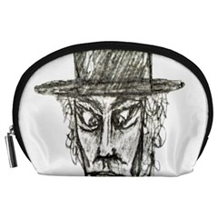 Man With Hat Head Pencil Drawing Illustration Accessory Pouches (Large)