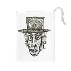 Man With Hat Head Pencil Drawing Illustration Drawstring Pouches (Large)