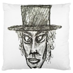 Man With Hat Head Pencil Drawing Illustration Large Flano Cushion Case (One Side)