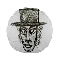 Man With Hat Head Pencil Drawing Illustration Standard 15  Premium Flano Round Cushions