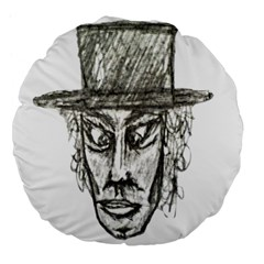 Man With Hat Head Pencil Drawing Illustration Large 18  Premium Flano Round Cushions