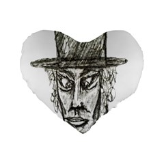 Man With Hat Head Pencil Drawing Illustration Standard 16  Premium Flano Heart Shape Cushions