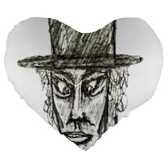 Man With Hat Head Pencil Drawing Illustration Large 19  Premium Flano Heart Shape Cushions