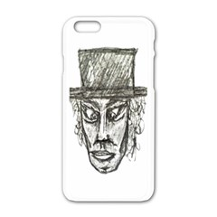 Man With Hat Head Pencil Drawing Illustration Apple iPhone 6/6S White Enamel Case