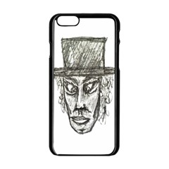 Man With Hat Head Pencil Drawing Illustration Apple iPhone 6/6S Black Enamel Case