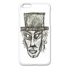 Man With Hat Head Pencil Drawing Illustration Apple iPhone 6 Plus/6S Plus Enamel White Case