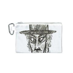Man With Hat Head Pencil Drawing Illustration Canvas Cosmetic Bag (S)