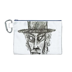 Man With Hat Head Pencil Drawing Illustration Canvas Cosmetic Bag (M)