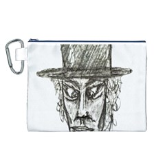 Man With Hat Head Pencil Drawing Illustration Canvas Cosmetic Bag (L)