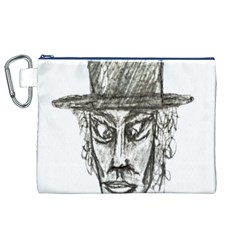 Man With Hat Head Pencil Drawing Illustration Canvas Cosmetic Bag (XL)