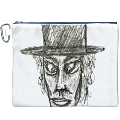 Man With Hat Head Pencil Drawing Illustration Canvas Cosmetic Bag (XXXL)