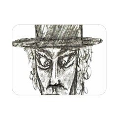 Man With Hat Head Pencil Drawing Illustration Double Sided Flano Blanket (Mini)