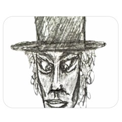 Man With Hat Head Pencil Drawing Illustration Double Sided Flano Blanket (Medium)