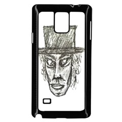 Man With Hat Head Pencil Drawing Illustration Samsung Galaxy Note 4 Case (Black)