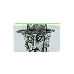 Man With Hat Head Pencil Drawing Illustration Cosmetic Bag (XS)