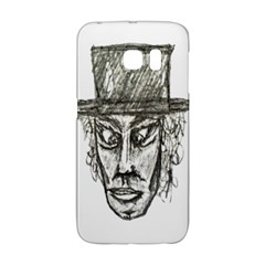 Man With Hat Head Pencil Drawing Illustration Galaxy S6 Edge