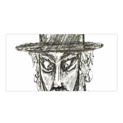 Man With Hat Head Pencil Drawing Illustration Satin Shawl