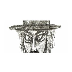 Man With Hat Head Pencil Drawing Illustration Satin Wrap
