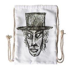 Man With Hat Head Pencil Drawing Illustration Drawstring Bag (Large)