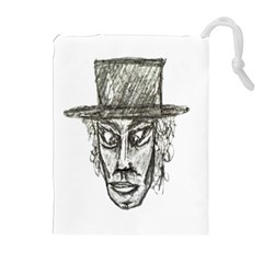 Man With Hat Head Pencil Drawing Illustration Drawstring Pouches (Extra Large)
