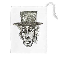 Man With Hat Head Pencil Drawing Illustration Drawstring Pouches (XXL)