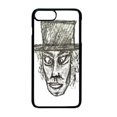 Man With Hat Head Pencil Drawing Illustration Apple iPhone 7 Plus Seamless Case (Black)