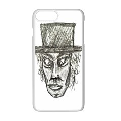 Man With Hat Head Pencil Drawing Illustration Apple iPhone 7 Plus White Seamless Case