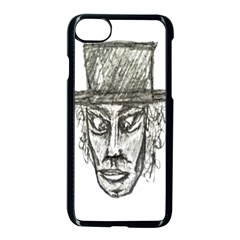 Man With Hat Head Pencil Drawing Illustration Apple iPhone 7 Seamless Case (Black)