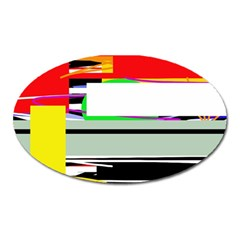 Lines and squares  Oval Magnet