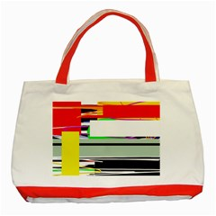 Lines And Squares  Classic Tote Bag (red)