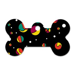 Colorful dots Dog Tag Bone (Two Sides)