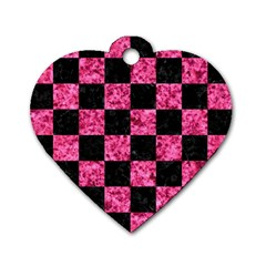 SQR1 BK-PK MARBLE Dog Tag Heart (Two Sides)
