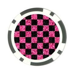 SQR1 BK-PK MARBLE Poker Chip Card Guards