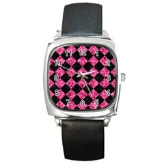 SQR2 BK-PK MARBLE Square Metal Watch