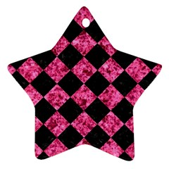 SQR2 BK-PK MARBLE Star Ornament (Two Sides)