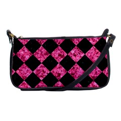 Square2 Black Marble & Pink Marble Shoulder Clutch Bag