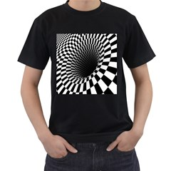 Optical Illusions Men s T-Shirt (Black) (Two Sided)