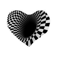 Optical Illusions Standard 16  Premium Flano Heart Shape Cushions